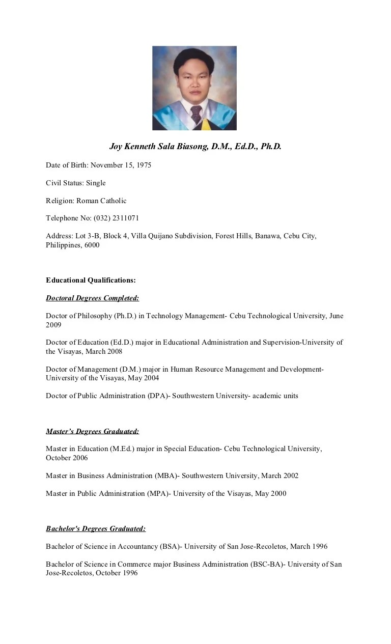 Curriculum Vitae Of Dr Joy Kenneth Sala Biasong