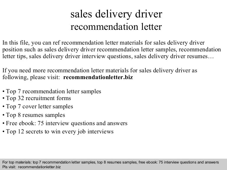 Sales Delivery Driver Recommendation Letter