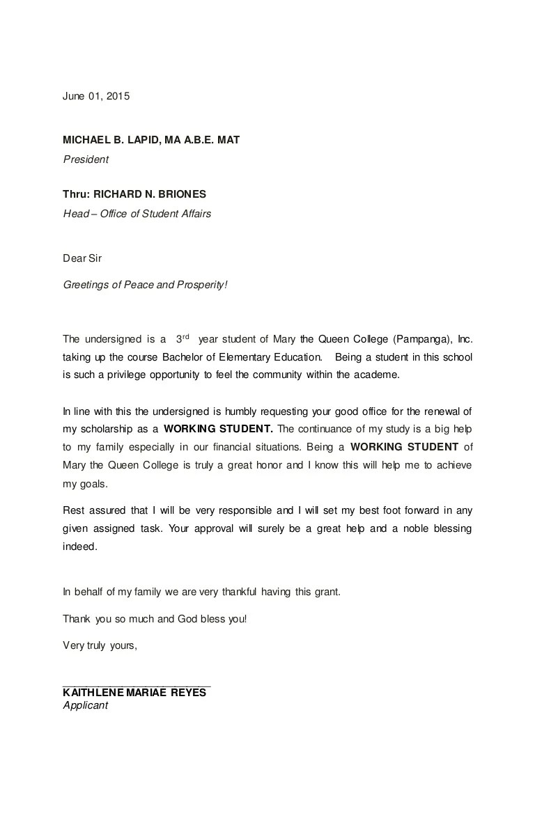 Sample Letter Of Intent Scholar Application Renewal