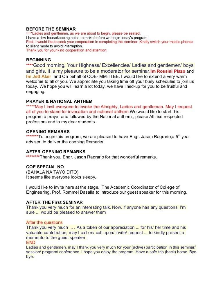 Emcee Script