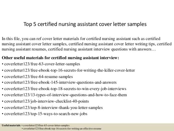 Top 5 Certified Nursing Assistant Cover Letter Samples