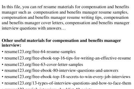 ideas of cover letter pensation and benefits manager sample resume ...