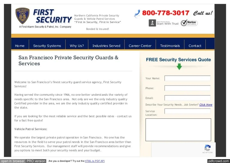 Francisco Corporate Security San Services