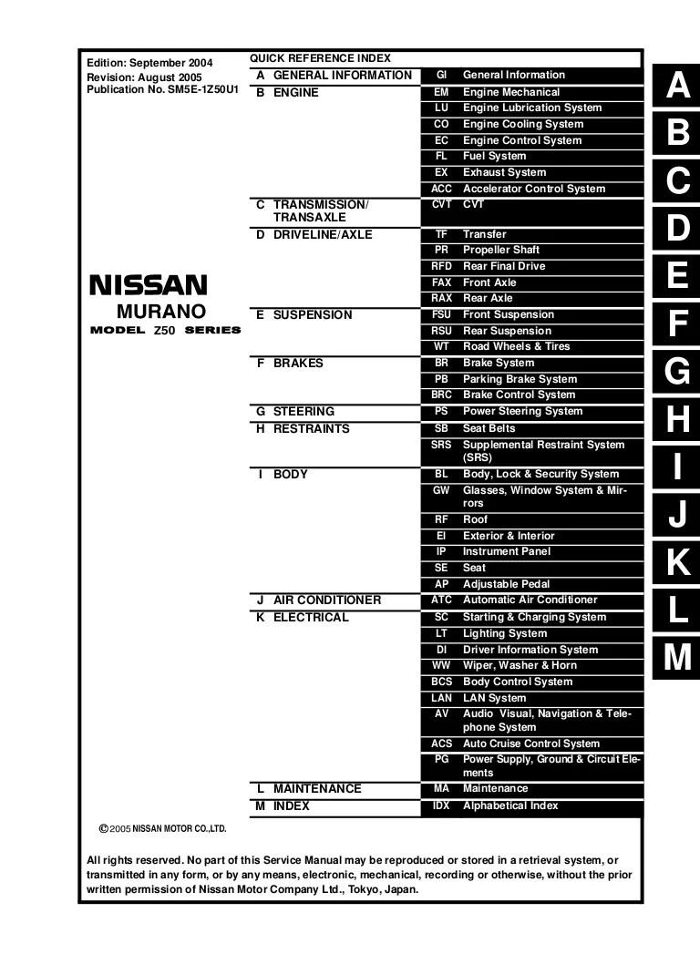 2005 nissan murano service repair manual