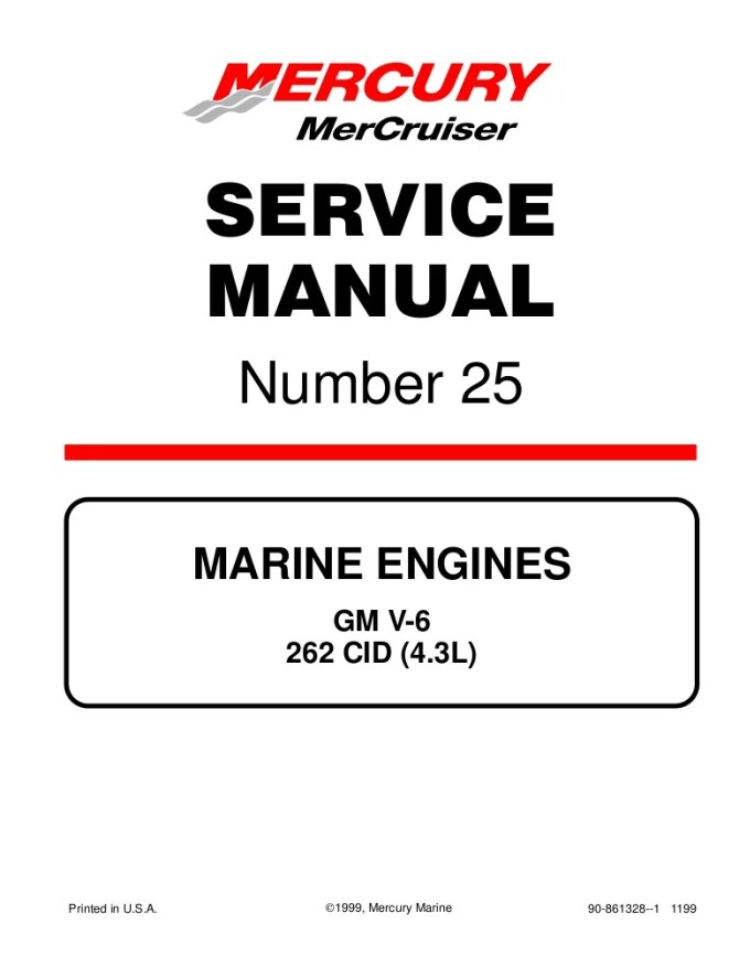 mercury mercruiser marine engines gm v6 262 cid 43l 1998