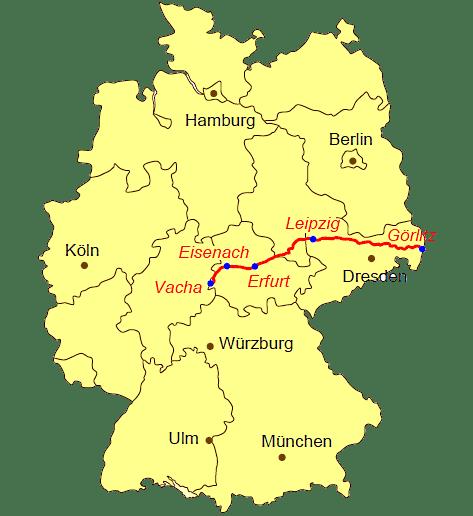 Kaart van pelgrimsroute Pilgerweg