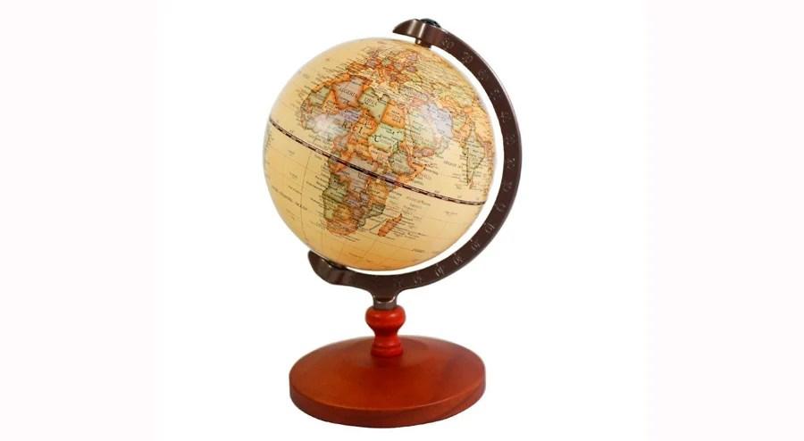 KiaoTime 5-inch Diameter Brown Vintage World Globe