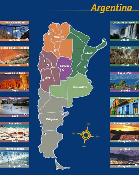 Resultado de imagen de mapa turistico argentina