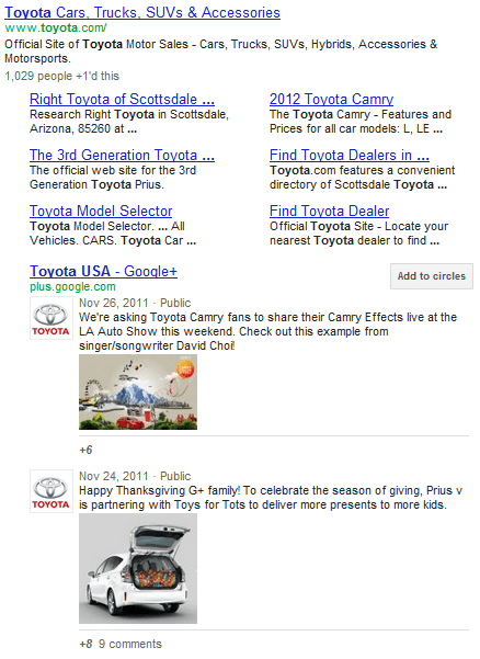 google+ page website search results