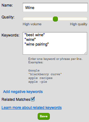 set keywords on inboxq