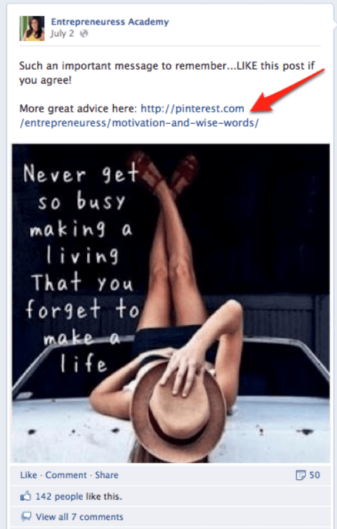 facebook pinterest board example