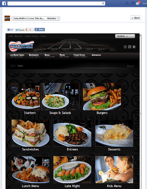 give access to your menu