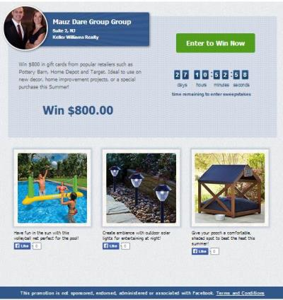 mauz dare group sweepstakes landing page