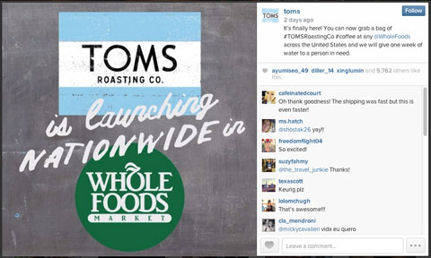 toms instagram image with hashtag