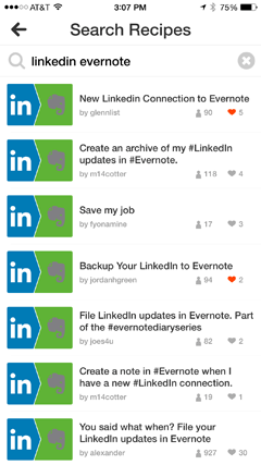 evernote and linkedin recipes in ifttt