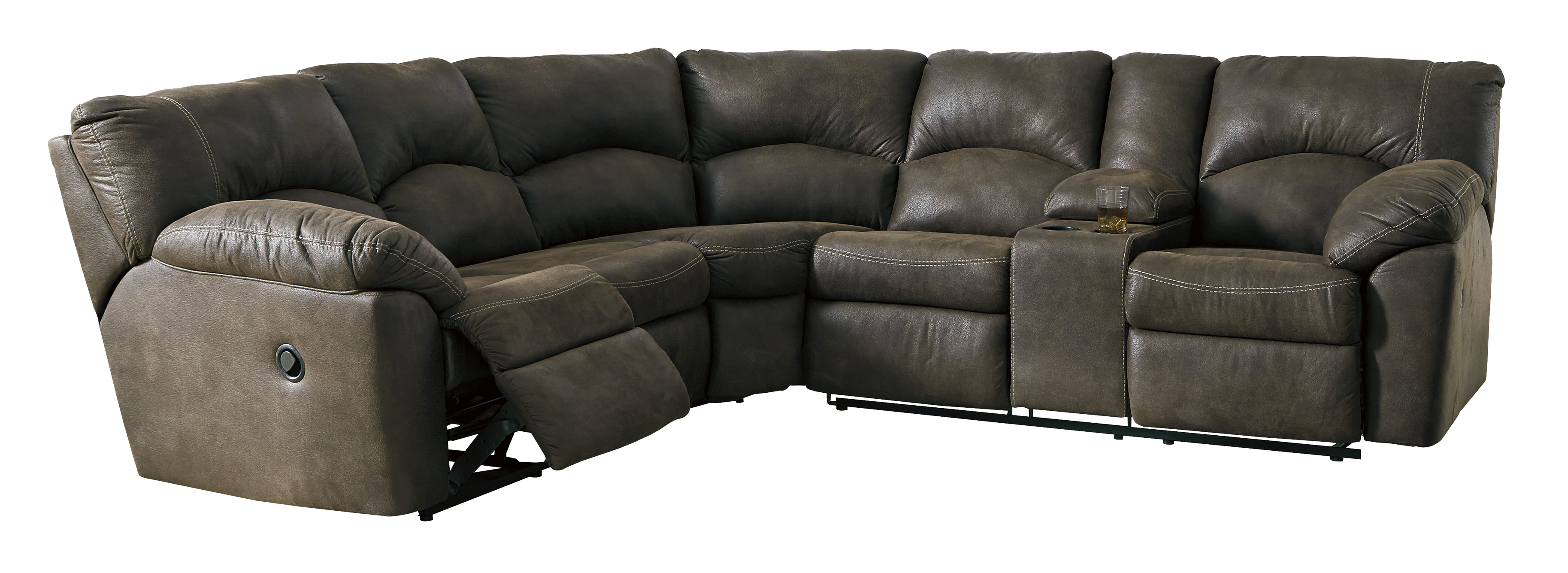 tambo reclining sectional with center console sofas and sectionals