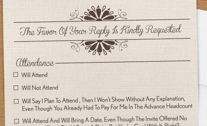 A Wedding Rsvp Card That Covers Every Horrible Guest Could Possibly Be Invited