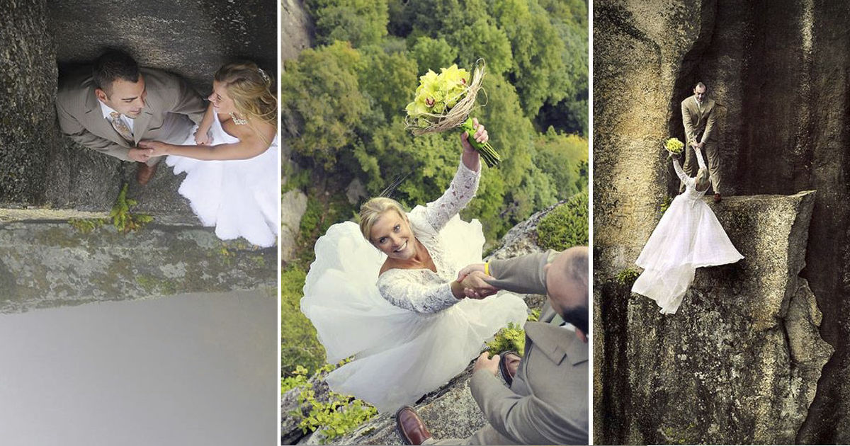 These Couples Took Their Wedding Photos While Hanging Off