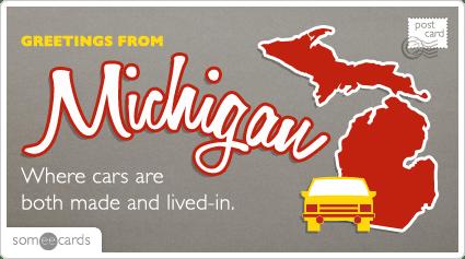 Michigan Cars Postcard Funny Ecard US Ecard