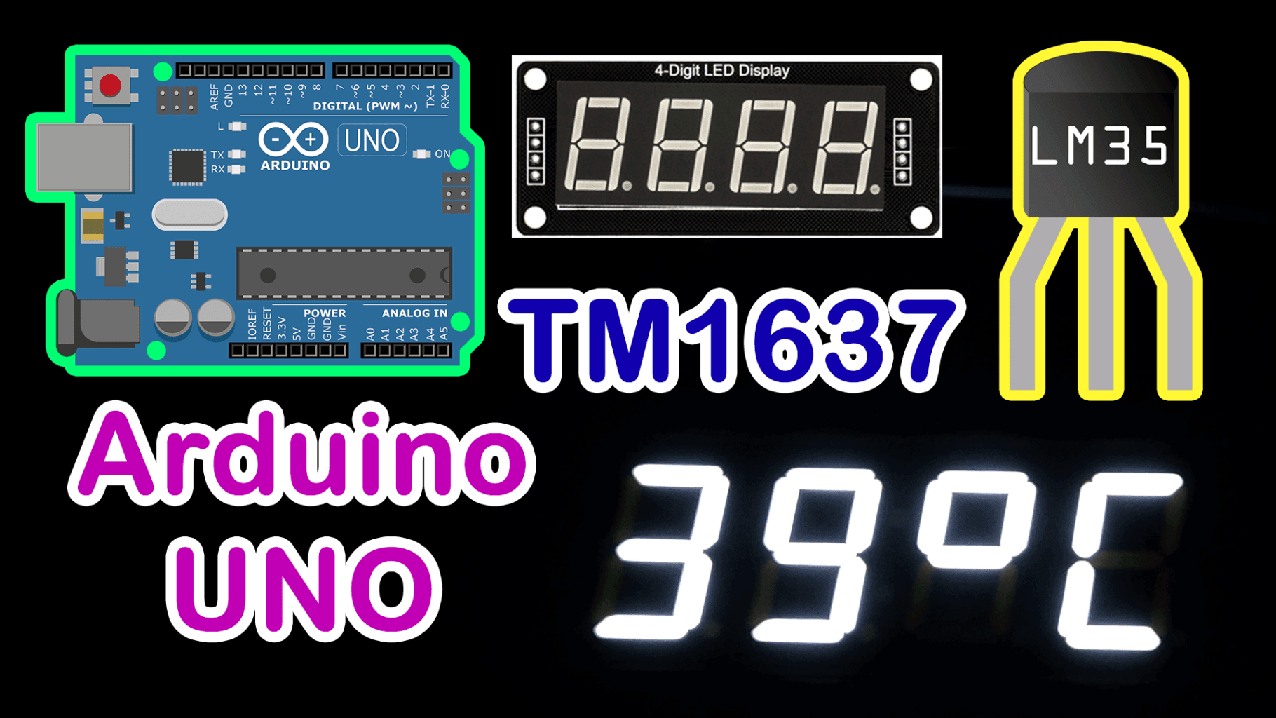 LM35 Sensor with TM1637 Display in Arduino UNO