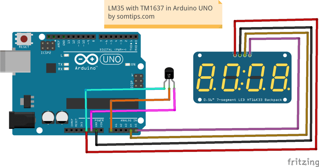 LM35 Sensor with TM1637 Display in Arduino UNO - Som Tips