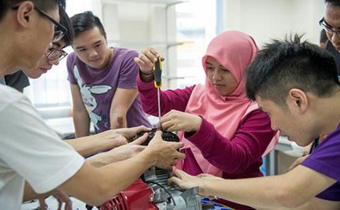 Students working in a laboratory