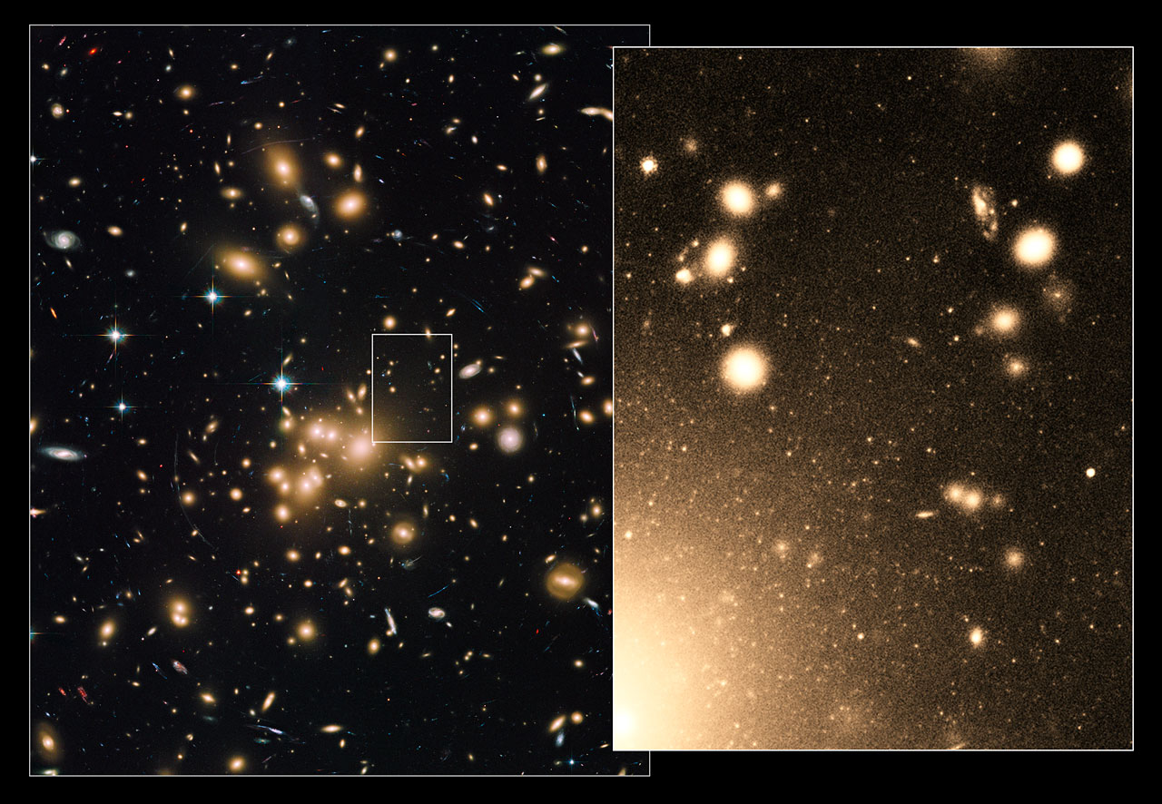 New Hubble Image Of Galaxy Cluster Abell 1689 Esa Hubble