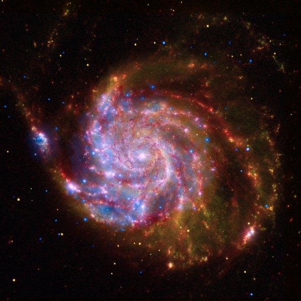 SpitzerHubbleChandra Composite of M101 ESAHubble
