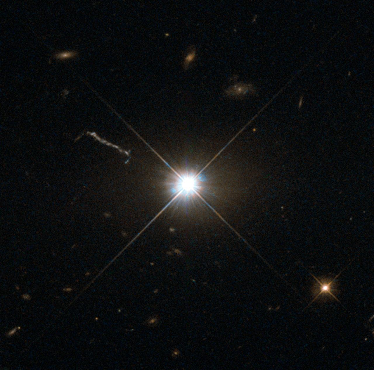 best image of bright quasar 3c 273   esa/hubble