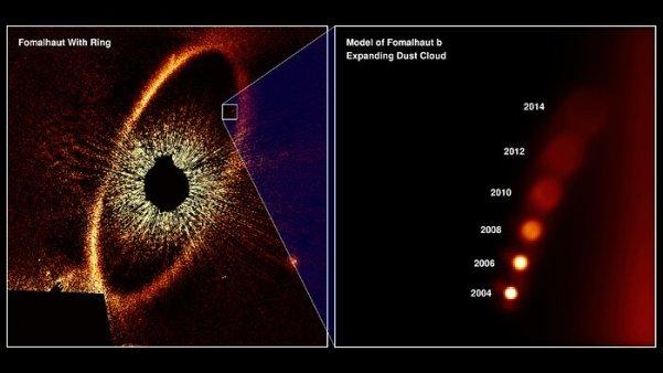Hubble'ın Fomalhaut b'nin Genişleyen Toz Bulutunu Gözlemini Gösterme