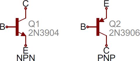 NPN and PNP BJT symbols