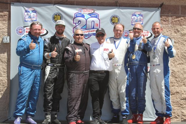 The podium Ceremony for the very first SVRA Mazda Heritage Cup. (L to R) Tom Stahler, Peter reed, Andy Weiss, Dean Case, Mike Allen, Carl Johnk, Jeremy Barnes. Photo: Jonathan Seiger
