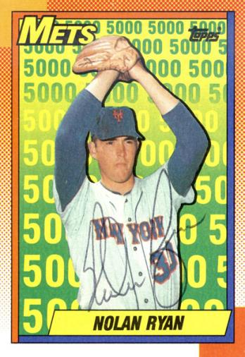 Nolan Ryan Autographed 1990 Topps No 2 Baseball Card