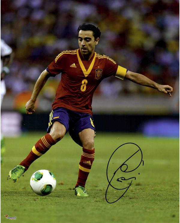 "Xavi Hernandez Spain Autographed 16"" x 20"" Kicking Photograph"
