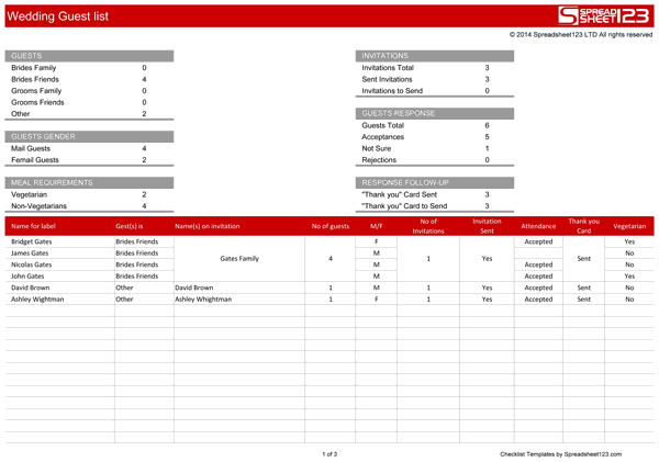 Wedding Guest List Free Template For Excel