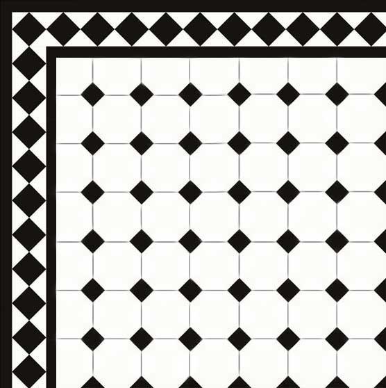 floor tiles octagon 10 x 10 cm white black