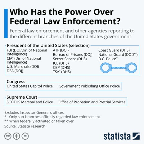 U.S. federal law enforcement agencies under branches of federal government