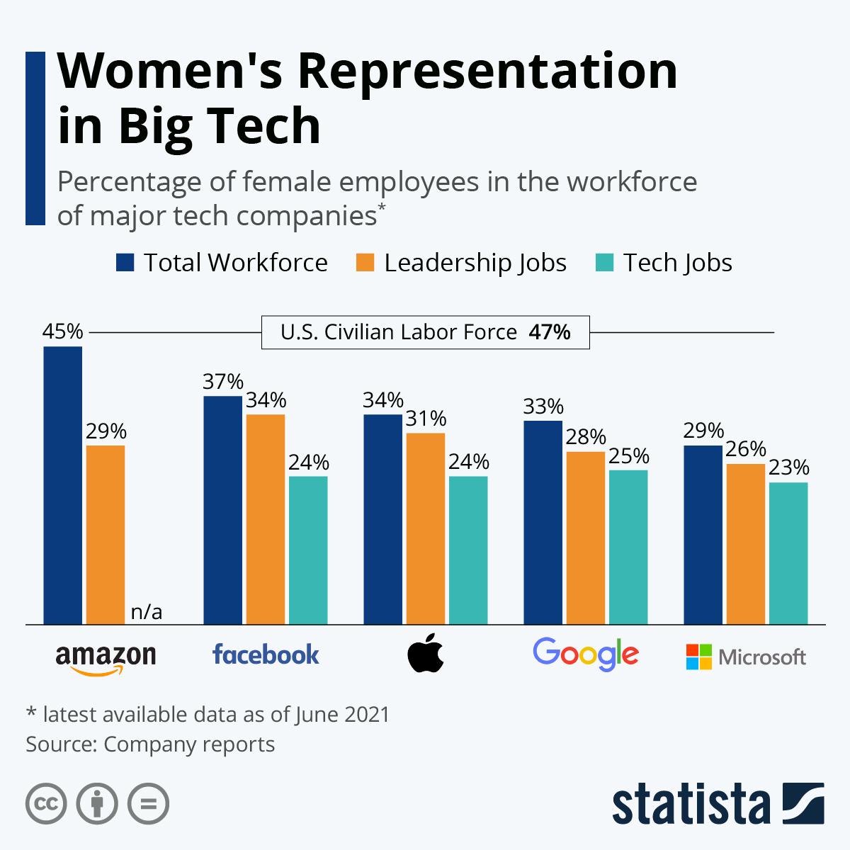 Infographic: Women's Representation in Big Tech | Statista