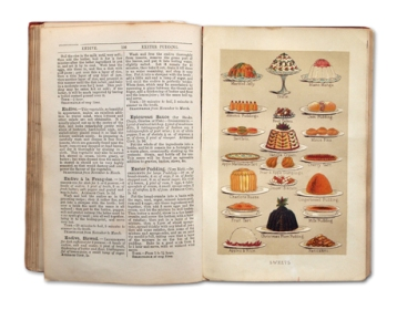 A spread on puddings from Mrs Beeton's Book of Household Management