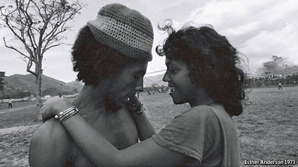 """Similarly, Marley is pictured with Ms Anderson herself in """"Esther Anderson and Bob Marley, Jamaica"""" (1973, pictured), revealing their close relationship."""