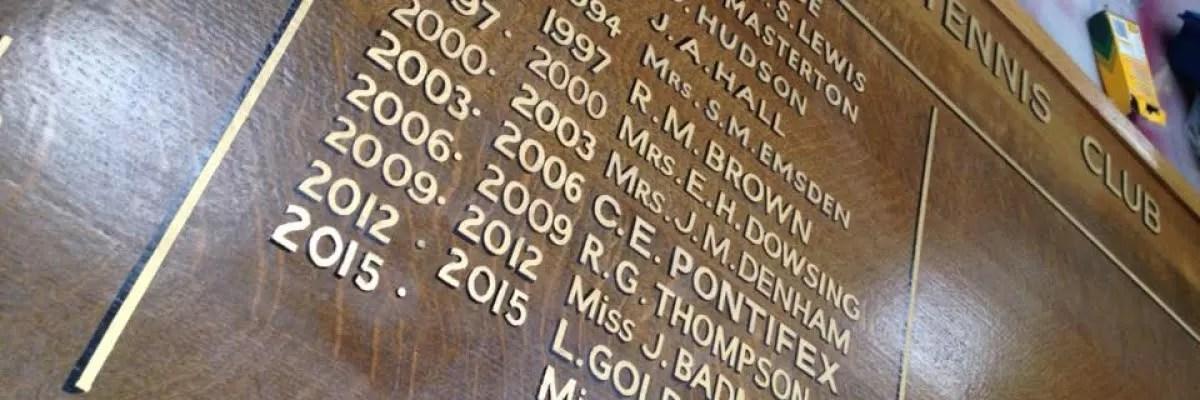 Golf Honours Boards