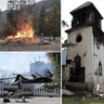 Arson is suspected at the burning of the Chopaka Church on the Lower Similkameen Indian Band reserve in B.C., top left, St. John's Anglican Church on Six Nations of the Grand River in Ontario, right, and Sacred Heart Church on the Penticton Indian Reserve in B.C.