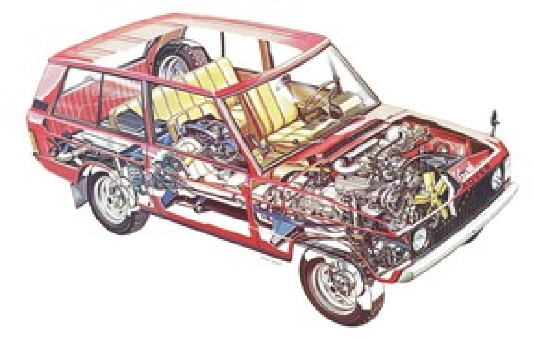 A cutaway illustration of a classic Range Rover