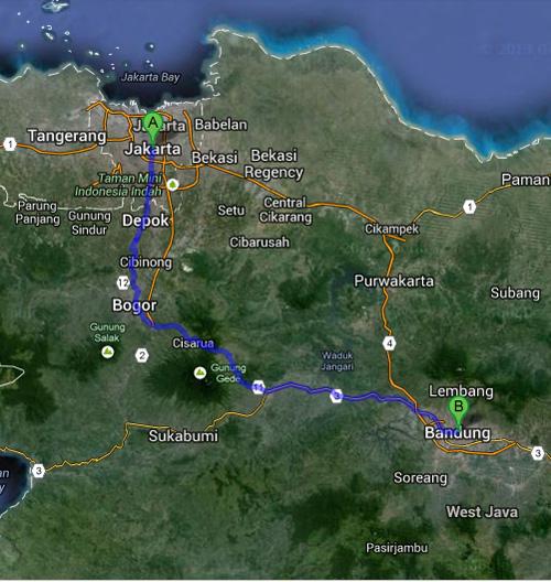 Rute touring ke Bandung dari Jakarta, Rute Wisata : Jakarta - Bogor - Puncak -Cianjur - Bandung