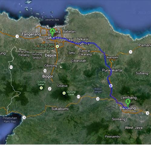 Rute touring ke Bandung dari Jakarta : Rute Standar Jalur Pantura, Jakarta - Bekasi - Cikampek - Purwakarta - Padalarang - Bandung