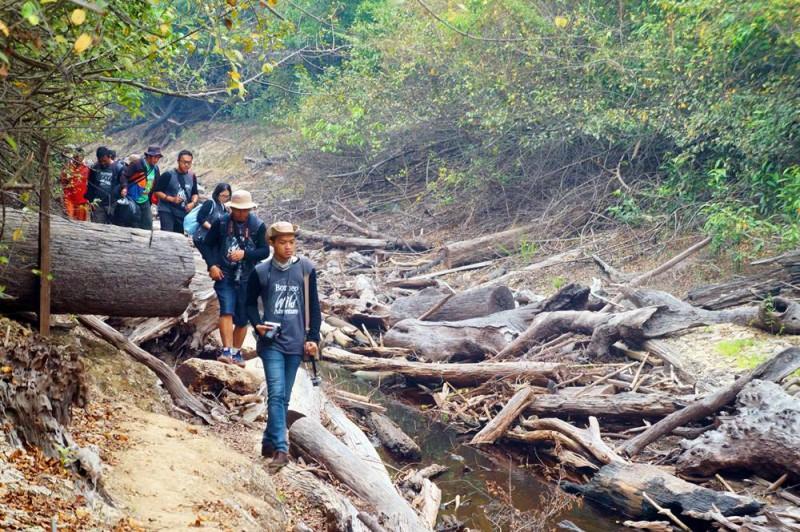 Menyusuri sungai, lalu masuk ke hutan untuk menuju camp WWF