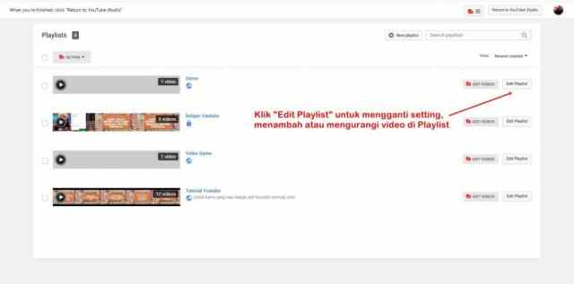 Cara edit playlist di Youtube.