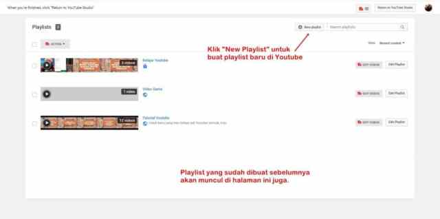 Halaman untuk buat playlist baru di Youtube.