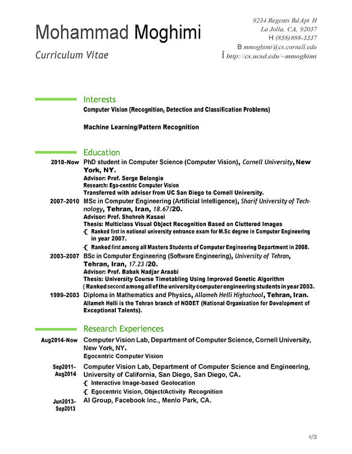 Software engineer, computer vision resume examples & samples. Resume For Internship In Enginering