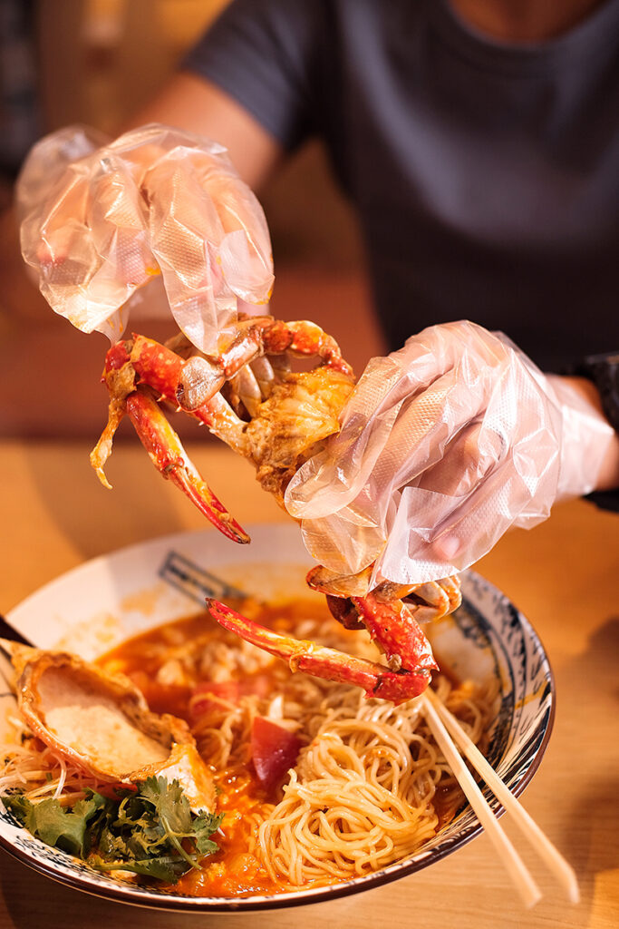 Crack open the crabs legs for more meat